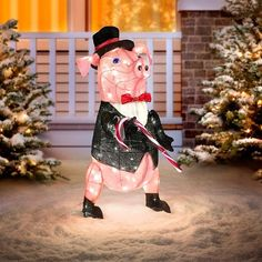 This Dapper Pig Lighted Outdoor Christmas Decoration is ready to celebrate the holidays in style! He's dressed in a top hat and tuxedo and using a candy cane as his cane. This dashing porker is as festive as festive can be. Display him on your covered porch or your front yard to charm your family and neighbors. Christmas Yard Decorations, Decorating With Christmas Lights, Holiday Lights, Cute Little Things, Cute Little Animals, Pig Candy, Pig Crafts, Pot Belly Pigs, Flying Pig