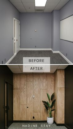 Transforming this basic office space into a stunning modern feature wall. oak wood accent wall against black walls. DIY plywood accent wall tutorial by Nadine Stay. Recreate this look in your home, office, bedroom, or storefront. Plywood Wall Paneling, Wood Panel Walls, Wood On Walls, Modern Wall Paneling, Oak Plywood, Wood Wall Decor, Black Accent Walls, Black Walls, Wood Accent Walls