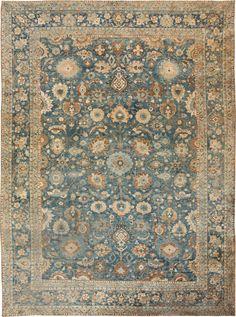Antique Persian Tabriz Rug, Origin: Persia, Circa: Early 20th Century 10 ft 8 in x 15 ft (3.25 m x 4.57 m)