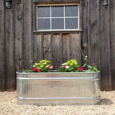 Water troughs would be pretty and easy in the front yard under the living room window and Silas' window. Could paint them!