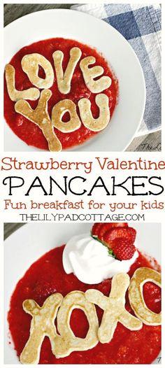 Strawberry Valentine Pancakes | The Lilypad Cottage