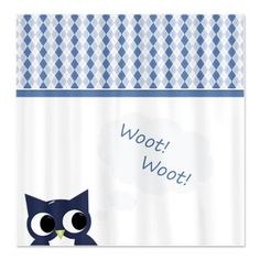 Woot! Blue Argyle Owl Shower Curtain- haha cute!