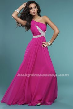 A-Line/Princess One Shoulder Long/Floor-length Chiffon Evening Dresses With Sleeveless (MF44D6)