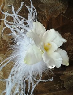 White orchid hair comb with tropical leaves on blusher veil tru touch bridal flowers hair piece orchid with pearls and ostrich feathers mightylinksfo