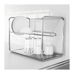 IKEA - ORDNING, Dish drainer, stainless steel, Holds large plates with a dia. up to 32 cm as well. base with dia. Most suitable for round plates and side plates. Kitchen Rack, Kitchen Storage, Kitchen Decor, Utensil Storage, Ikea Storage, Ikea Canada, Dish Washing Brush, Dish Drying Mat, Drying Racks