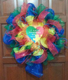 I LOVE SOMEONE WITH AUTISM WREATH
