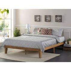 Priage Oak-finished Solid Wood 12-inch Platform Bed | Overstock.com Shopping - The Best Deals on Beds