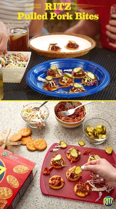 Crock pots make cooking so simple. Bring your summer party to the next level with our RITZ cracker Pulled Pork Bites. Top RITZ Bacon Flavored crackers with warm BBQ pulled pork. Add cole slaw and dill pickle chips. Bacon-flavored RITZ add a hint of smokey flavor that your friends will eat up! Life's Rich.