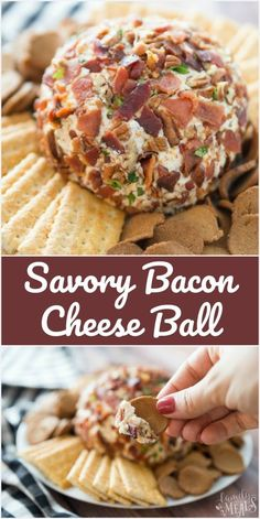 Savory Bacon Cheese Ball recipe - Perfect for the holidays! #cheeseball #savory #appetizer #bacon #easyrecipe #familyfreshmeals