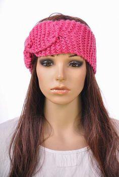 M137 Pink Head Band Cute Bow Brim Women's Head Wrap Cap Beanie Acrylic Wool #Handmade #Beanie