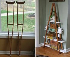 This is a cool way to recycle old crutches you may have laying around. If not and you like this idea they are not hard to find. I see them all the time at Thrift Stores and Garage Sales.   All you need is an old set of crutches, some scrap lumber, maybe a hand saw to cut the boards to length, some paint if you choose to paint your shelves.