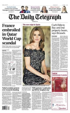 Queen Letizia of Spain cover of The Daily Telegraph