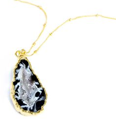Geode Slice Pendant Gold Necklace - Venus - Nina Nguyen Designs Jewelry