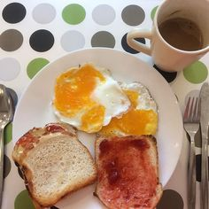 """""""My breakfast for today....Fried eggs, breast toasted with butter and jam and a cup of coffee🙂 I know I know my eggs aren't perfect, but that's the first time I made fried eggs 😇 so people be encouraging 😜 #travel #travelling #traveller #travelgram #travelphotographer #travelphotography #travelgram #traveldiaries #traveldiary  #fun #happy #instatravel #instalife #blogger #travelblogger #iandmyflipflops #globetrotter #iamtb #solobackpacking #solotravel #backpackerstory #backpackers…"""