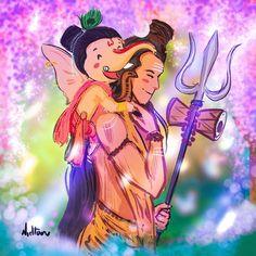 No photo description available. Shiva Art, Krishna Art, Hindu Art, Shiva Parvati Images, Lord Krishna Images, Lord Ganesha Paintings, Lord Shiva Painting, Shiva Linga, Shiva Shakti