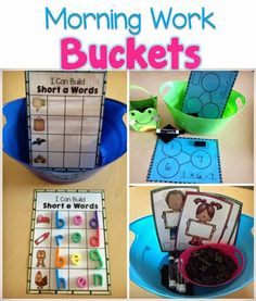 Work Buckets Use Morning Work Buckets with students to practice skills, without the teachers assistance. Ideas for morning work and for when students come into class.Skillion Skillion or Skillions may refer to: Kindergarten Morning Work, Kindergarten Centers, Teaching Kindergarten, Morning Work For Preschool, Kindergarten Classroom Setup, Preschool Phonics, Preschool Schedule, Teaching First Grade, Learning Centers