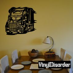 Semi Truck Wall Decal - Vinyl Decal - Car Decal - DC 010