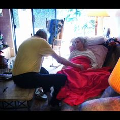 """Bob caressing Mom's leg. Never wanting to let go. #endoflife #smacancer #lungcancer #anyonecangetlungcancer"""