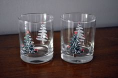 Set-of-2-Furio-Sponged-Christmas-Tree-12-Oz-Glasses-Old-Fashioned