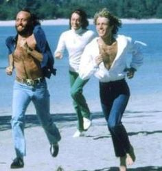 Three brothers reunited in heaven  Maurice, Robin and Andy Gibb.  Heaven must sound amazing