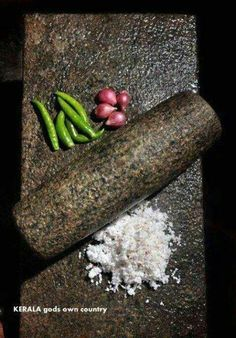 Roller stone -a traditional kitchen tool used in India to ground spices bringing out their exotic fragrance and flavours. (Known as Ammikallu in Malayalam -Ammikal in Tamil) Kerala Travel, Kerala Tourism, Amazing India, Kerala Food, Indian Kitchen, Kerala India, South Indian Food, Mortar And Pestle, Traditional Kitchen