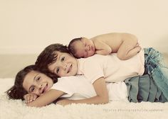 siblings with newborn this would be cute but i doubt my kids would go along with this lol