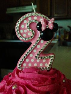 Blingy Minnie Mouse birthday candle any number by SweetPeaCandles
