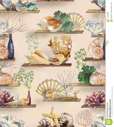 Pattern Of Shells, Corals And Algae For Wallpaper And Design Stock Illustration - Illustration of shells, corals: 113584880