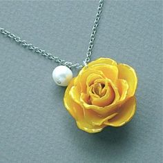 Yellow Rose + Pearl Necklace