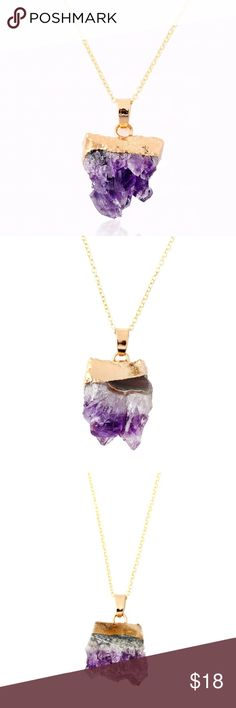 """Druzy Purple Amethyst New Druzy Natural Purple Amethyst Necklace ! Link Chain 18"""".... Stone is an irregular amethyst, size might vary. Jewelry Necklaces"""
