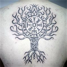 Mens Tree Viking Compass Back Tattoo