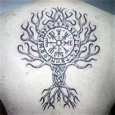Mens Tree Viking Compass Back Tattoo