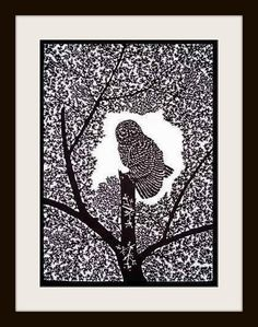 Owl in the tree - handmade papercutting