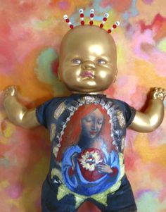 another baby jesus mary found object- sold. Scary Dolls, Christmas Jesus, Found Object Art, Bizarre, Hail Mary, Madonna And Child, Art Icon, Old Dolls, Baby Jesus