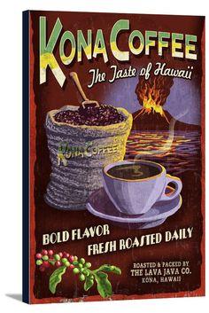 Canvas (Hawaii - Kona Coffee Vintage Sign - Lantern Press Artwork)