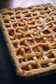 Peach Slab Pie. Large enough for a crowd, and delicious, which is obviously the most important part!