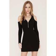 Forever 21 Women's  Open-Shoulder Mini Dress ($23) ❤ liked on Polyvore featuring dresses, full length black dress, forever 21 dresses, black cold shoulder dress, black sleeve dress and forever 21