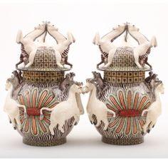 Ardmore Ceramics: Pair of Zebra & Money Urns