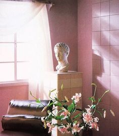 vaporwave pink vaporwave interior bust on tiled pedestal with draped sheers via .Greek bust on tiled pedestal with draped sheers via . Vintage Pink Garden Wallpaper for Walls, Sweet Laurel Mural