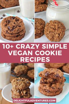 Over 10 easy, irresistable vegan cookie recipes that are all ridiculously delicious, quick, simple to make and will become new favourites. All of these cookies are quick to make, naturally gluten-free, and they're some of the best vegan cookies you'll ever taste! Gluten Free Vegan Cookie Recipe, Best Vegan Cookies, Vegan Oatmeal Raisin Cookies, Coconut Chocolate Chip Cookies, Vegan Gluten Free Desserts, Oatmeal Cookie Recipes, Vegan Sweets, Yummy Cookies, Vegan Food