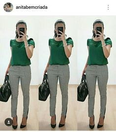 Green blouse, Pattern trousers, Black shoes and bag - Work Outfit Casual Work Outfits, Business Casual Outfits, Professional Outfits, Mode Outfits, Office Outfits, Work Attire, Work Casual, Chic Outfits, Fall Outfits