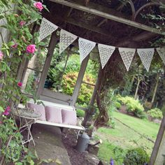 Beautiful natural garden bunting in neutral by BaloolahBunting