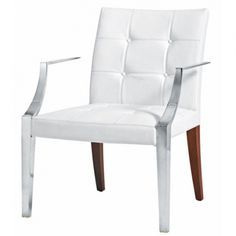 Armchair Monseigneur designed by Philippe Starck for Driade, Italy. Structure with front legs/armrests in stainless steel casting and back legs in mahogany wood, seat and back in polyurethane foams with fixed cover in quilted white leather. Cheap Furniture, Home Furniture, Furniture Design, Philippe Starck, Sofas, Armchairs, Stainless Steel Casting, Industrial Dining Chairs, Kartell