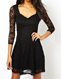 Stylish 3/4 Length Sleeve Sweetheart Neckline Lace Dress For Women, BLACK, S in Dresses 2014 | DressLily.com