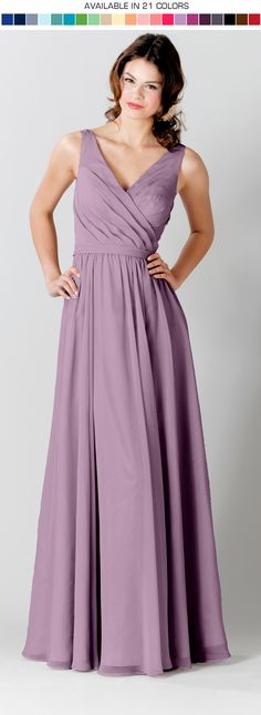 A stunning and chic long bridesmaid dress with a v-neckline. **Shoot us an email to request your free swatches!**