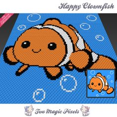 Happy Clownfish crochet blanket pattern; c2c, knitting, cross stitch graph; pdf download; no written counts or row-by-row instructions by TwoMagicPixels, $3.79 USD