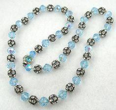 Aqua Crystal & Rhinestone Bead Necklace - Garden Party Collection Vintage Jewelry