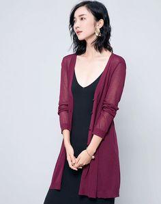 #AdoreWe #VIPme Sweaters & Cardigans - Designer SAISON DE PAPILLON Wine Single-breasted Long Loose Cardigan - AdoreWe.com