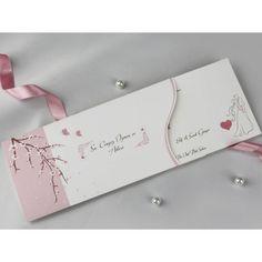 Invitatie de nunta cu flori de cires si miri 60329