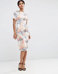 Image 1 ofASOS Wiggle Dress in Wallpaper Floral Print